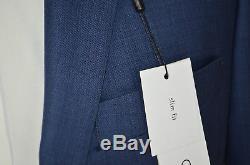 NWT CALVIN KLEIN Slim Fit Sharkskin Wool Mid Blue Flat Front Suit Sz 38R 32 W