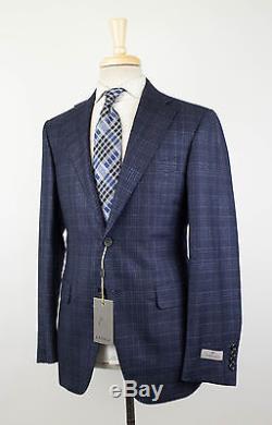 NWT CANALI 1934 Blue Plaid Cashmere Blend 2 Button Slim Fit Suit 50/40 R $1895