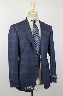 NWT CANALI 1934 Blue Plaid Wool 2 Button Slim Fit Suit Size 48/38 R $1995
