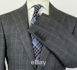 NWT CANALI 1934 Gray Plaid Wool Peak Lapels 2 Button Slim Fit Suit 50/40 R $1895
