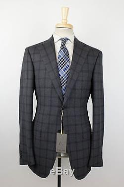 NWT CANALI 1934 Gray Windowpane Wool 2 Button Slim Fit Suit Size 50/40 L $1895