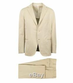 NWT CARUSO Beige Cotton 3 Roll 2 Button Slim Fit Suit 54/44 S Drop 8