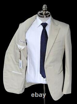 NWT CARUSO Beige Twill Stretch Cotton Slim Fit Three Button Suit 40 R (EU 50)
