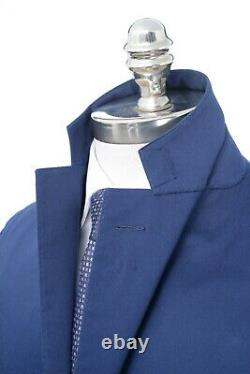 NWT CARUSO Blue Twill Cotton Slim Fit Rolling 3/2 Button Suit 38 R (EU 48)