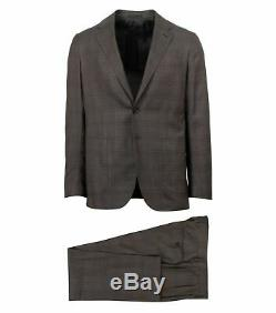 NWT CARUSO Brown Plaid Wool 3 Roll 2 Button Slim Fit Suit 48/38 Drop 8
