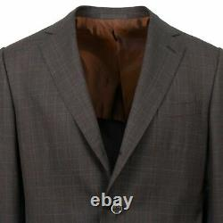 NWT CARUSO Brown Plaid Wool 3 Roll 2 Button Slim/Trim Fit Suit 50/40 R Drop 7