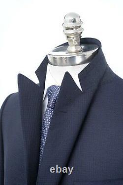 NWT CARUSO Navy Blue Geometric Super 110's Wool Slim Fit Suit 40 R (EU 50)