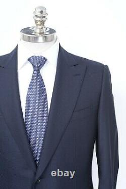 NWT CARUSO Navy Blue Muted Check Superfine 110's Wool Slim Fit Suit 42 R (EU 52)