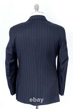 NWT CARUSO Navy Blue Striped All Seasons Wool Slim Fit 3 Btn Suit 40 R (EU 50)