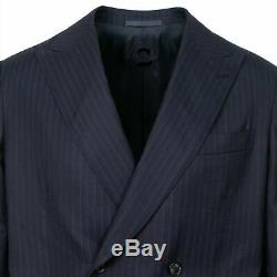 NWT CARUSO Navy Blue Striped Wool Double Breasted Slim Fit Suit 50/40 R Drop 8