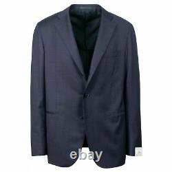 NWT CARUSO Navy Blue Wool Woven 3 Roll 2 Button Slim/Trim Fit Suit 56/46R Drop 7