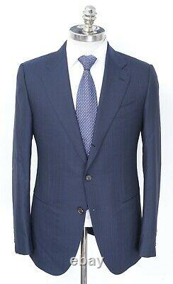 NWT CARUSO Navy Muted Striped Wool 3 / 2 Roll Slim Suit 40 R (EU 50) fits 38