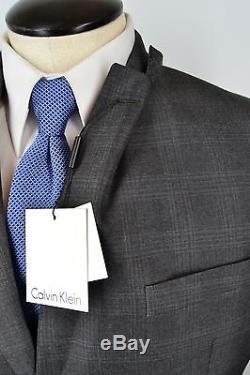 NWT Calvin Klein Recent Modern Gray Plaid Steel Slim Fit Mens Suit Sz 38R $650