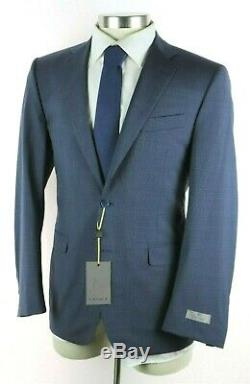 NWT Canali 1934 Blue Microcheck Year Round Wool Suit 40 S Slim Fit 50 EU
