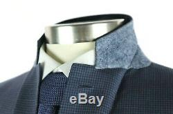 NWT Canali 1934 Blue Microcheck Year Round Wool Suit Slim Fit 46 L fits 44 L