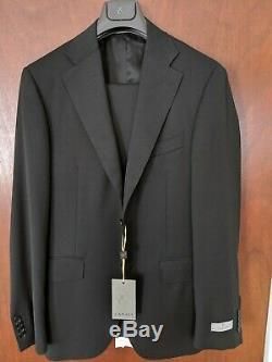 NWT Canali Solid Black Wool Suit 40R/50R Slim Modern Fit, All Season Suit