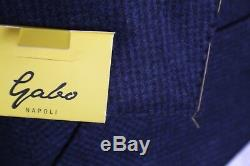 NWT Gabo Napoli Blue Micro Houndstooth Flannel Suit Flat Front 2 Vent SLIM FIT