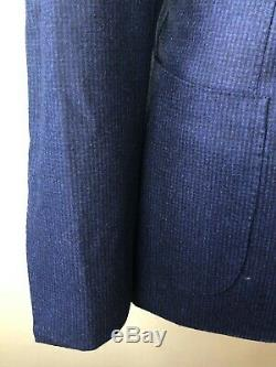 NWT Gabo Napoli Hand Made Elite Navy Blue Houndstooth Suit Slim Fit Flat Frt 2Vt