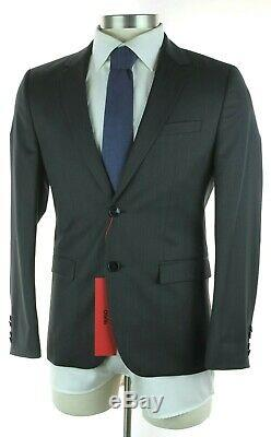 NWT HUGO BOSS RED LABEL Astian Hets Solid Charcoal Wool Extra Slim Fit Suit 38 S