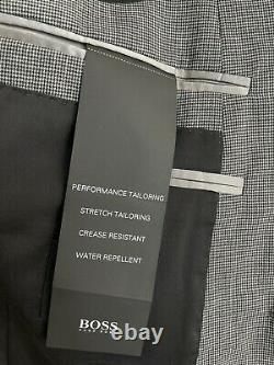 NWT HUGO BOSS SUIT 38R grey slim fit Woven Italy 2 Btn Double Vent 100% Wool