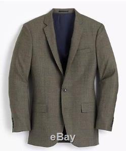 NWT J. CREW Ludlow Slim-Fit Suit Green Herringbone Check, 40S, 32W
