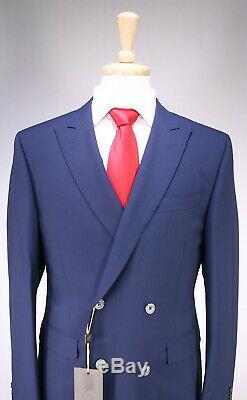 NWT New CANALI Current Dark Royal Blue 2-Btn DB Slim Fit Wool Suit 38R