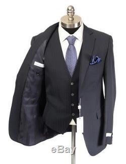 NWT PAL ZILERI Navy Shadowstripe Wool 3PC Slim-Fit 2 Button Suit 52 42 R Drop 8