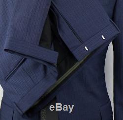 NWT Z ZEGNA Blue Striped Wool 2 Button Trim/Slim Fit Suit 52/42 L Drop 7 $1495