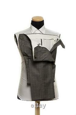 New 1400$ LARDINI Wool E. THOMAS Gray Plaid & Checks Suit 42 US 52 EU 7R Slim Fit