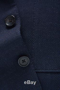 New 2017 TOM FORD Blue 3pcs Suit Birdseye Wool Slim-Fit 38 R US/48 IT $5450
