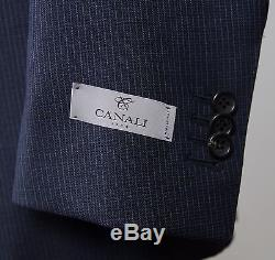 New $2195 Canali 1934 Blue Micro Check Wool Suit Slim Fit Model Size 40 (50 EU)