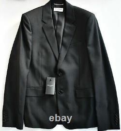 New Auth SAINT LAURENT Black GABARDINE VIRGIN WOOL SLIM FIT Suit EU-48 W-32