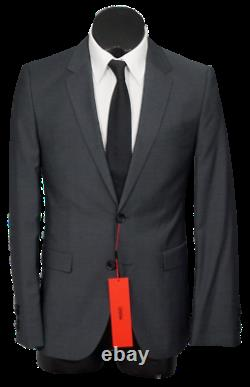 New Hugo Boss Astian/Hets182 2 Btn 100`S Wool Slim Fit Suit Solid DarkGray 38R