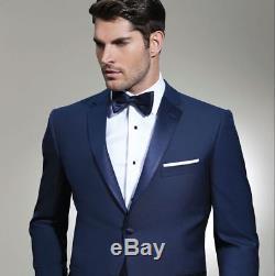 04c34276c29 New Ike Behar Navy Sebastian Navy Blue Tropical Wool Tuxedo Slim Fit Suit  Tux