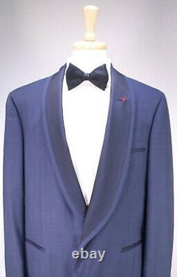 New! Isaia Dark Blue Berry Wool Shawl Lapel 1-Btn Slim Fit Tuxedo Suit 46L