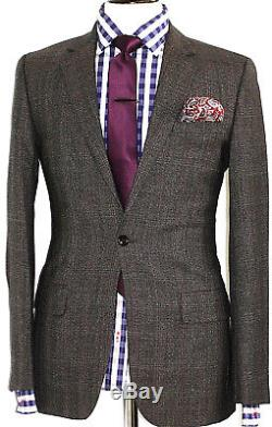 New Luxury Mens Reiss London Prince Of Wales Check Slim Fit Suit 36r W32 X L32