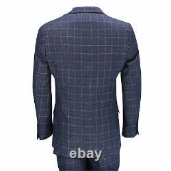 New Mens 3 Piece Blue Orange Window Check Retro Smart Tailored Fit Vintage Suit