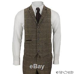 New Mens 3 Piece Tweed Suit Vintage Tan Brown Herringbone Check Retro Slim Fit