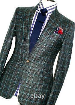 New Mens Vivienne Westwood London Charcoal Grey Box Check Slim Fit Suit 38r W32