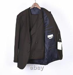 New Suit Supply Havana Patch Men Brown Slim Vest Blazer & Pants 3pc Set 48/46