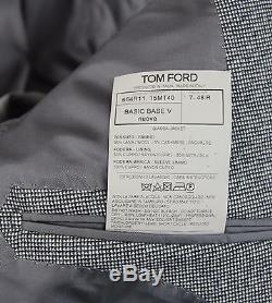 New Tom Ford Gray Wool Cashmere Suit Size 38 (48 EU) Slim Fit Base V Model NWT