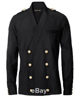 New sz M BALMAIN H&M black shirt suit jacket gold buttons mens
