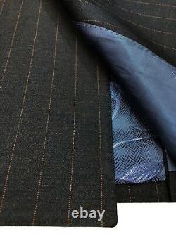 PAMONI Dark Brown Pinstripe Double Breasted Slim Fit Suit