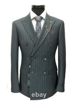 PAMONI Grey Pinstripe Double Breasted Slim Fit Suit