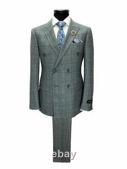 PAMONI Grey Prince Of Wales Check Double Breasted Slim Fit Suit