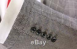 PAUL SMITH London Tan/Black Plaid Unique Slim Fit Wool 2-Btn Suit 36S