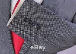 PHINEAS COLE Gray/Black Birdseye Peak Lapel Slim Fit 110's Wool 1B Suit 36S