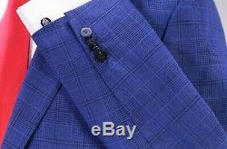 PHINEAS COLE Recent Royal Blue/Black Plaid Peak Lapel Wool-Mohair Slim Fit 38S