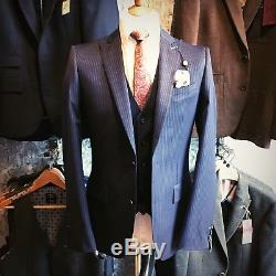 Pinstripe, 36R Slim Fit, Three Piece Suit. BNWT from our Leamington Spa Shop