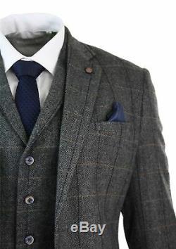 Plaid Men 3Pcs Classic Tweed Herringbone Check Grey Slim Fit Vintage Suit Custom